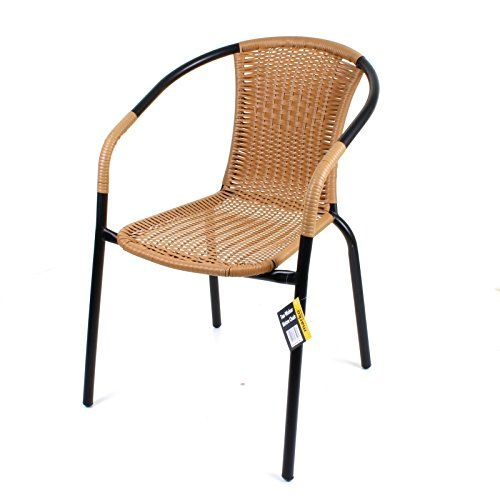 Marko Outdoor Bistro Chair Outdoor Tan Wicker Rattan Woven Seat Black Metal  Frame Patio Seats