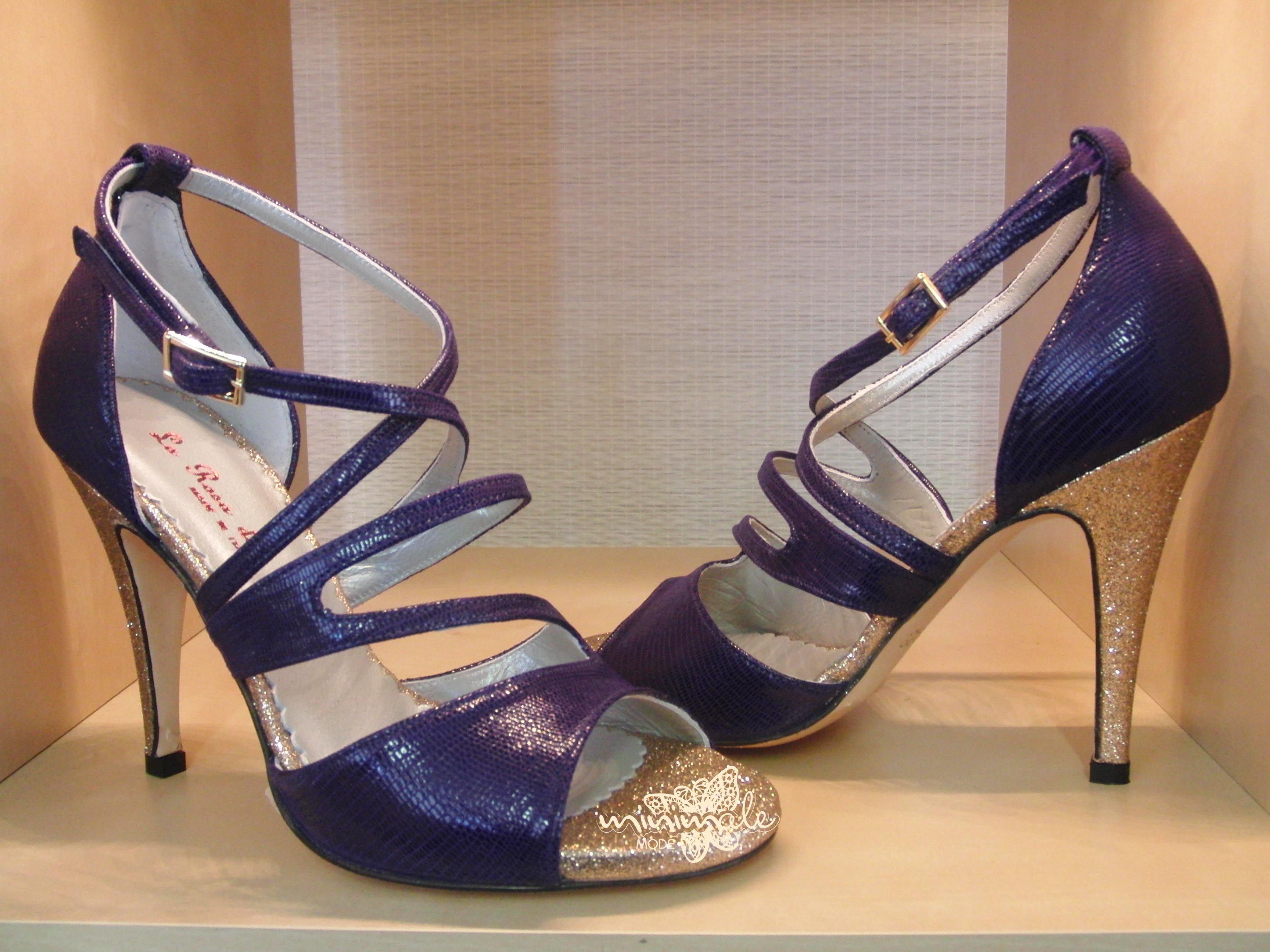 Item Elena, Sole Vero Cuoio, Materials minilizard, Glitter fabric, Toe Open, Back Closed, Color Purple&Gold, Heel Shape Stiletto