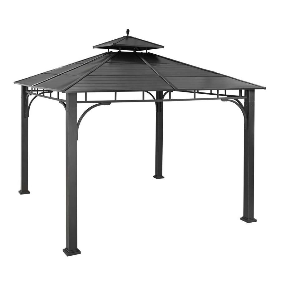 Allen Roth Black Metal Square Grill Gazebo Exterior 10 2 Ft X 10 2 Ft Foundation 10 Ft X 10 Ft Lowes Com Grill Gazebo Gazebo Steel Gazebo
