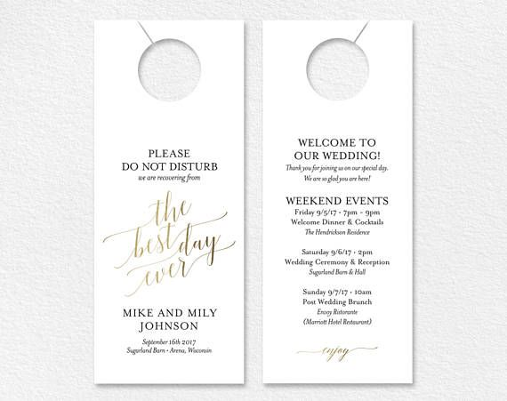 Faux Gold Wedding Door Hanger Do Not Disturb Door Hanger Wedding