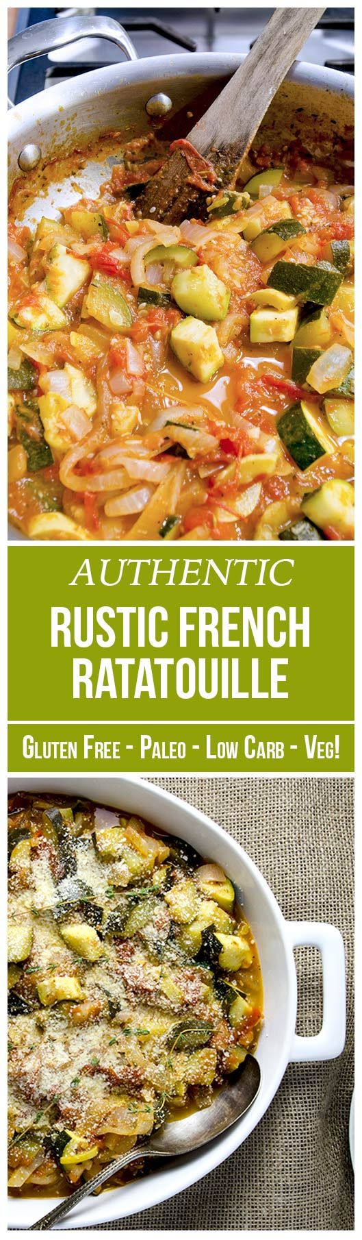 """If you liked the Pixar animated movie, you will fall in love with this provençal ratatouille recipe. It's French and it's classic. A healthy low-carb dish made of five fresh ingredients, herbs de Provence, and some spices. You'll be amazed by how little it takes to build so much flavor! Skip the parmesan and you have a delicious vegan recipe. Chef Gusteau from Ratatouille said: """"Anyone can cook, but only the fearless can be great!"""" So be fearless and start cooking this savory recipe!"""