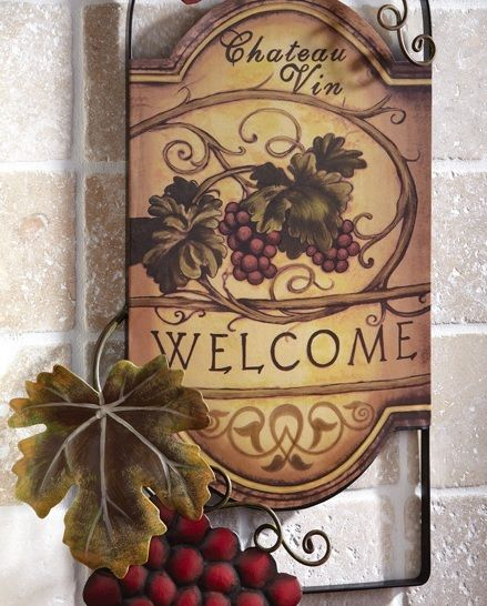 Wine Wall Decor | Wine Bottle Shaped Metal Wall Art Hanging Grapes Welcome Kitchen  Decor .
