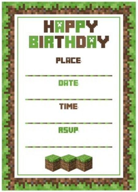 Minecraft Birthday Party Invitation Template  Bday