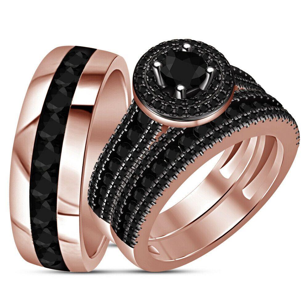 14K Rose Gold Fn Men Womens His Her Black Diamond Bridal