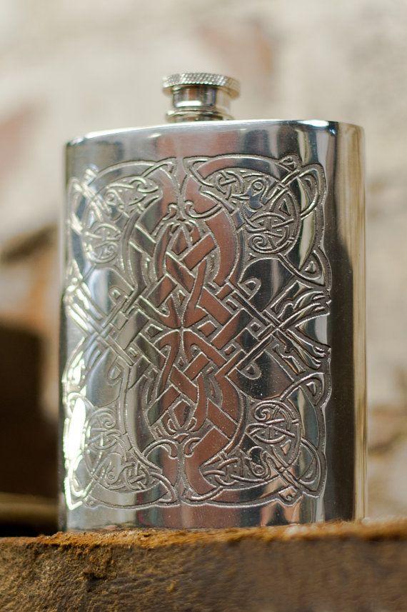 Celtic Pattern Hip Flask. by HipFlasks on Etsy