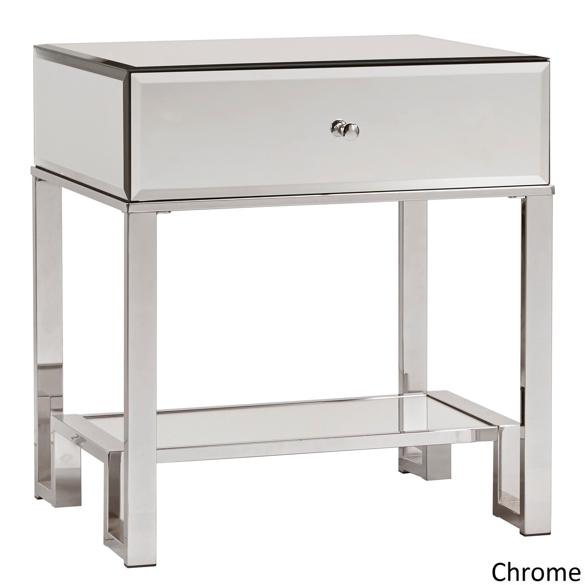 Akiko Mirrored 1-Drawer End Table by Inspire Q (Chrome), Silver