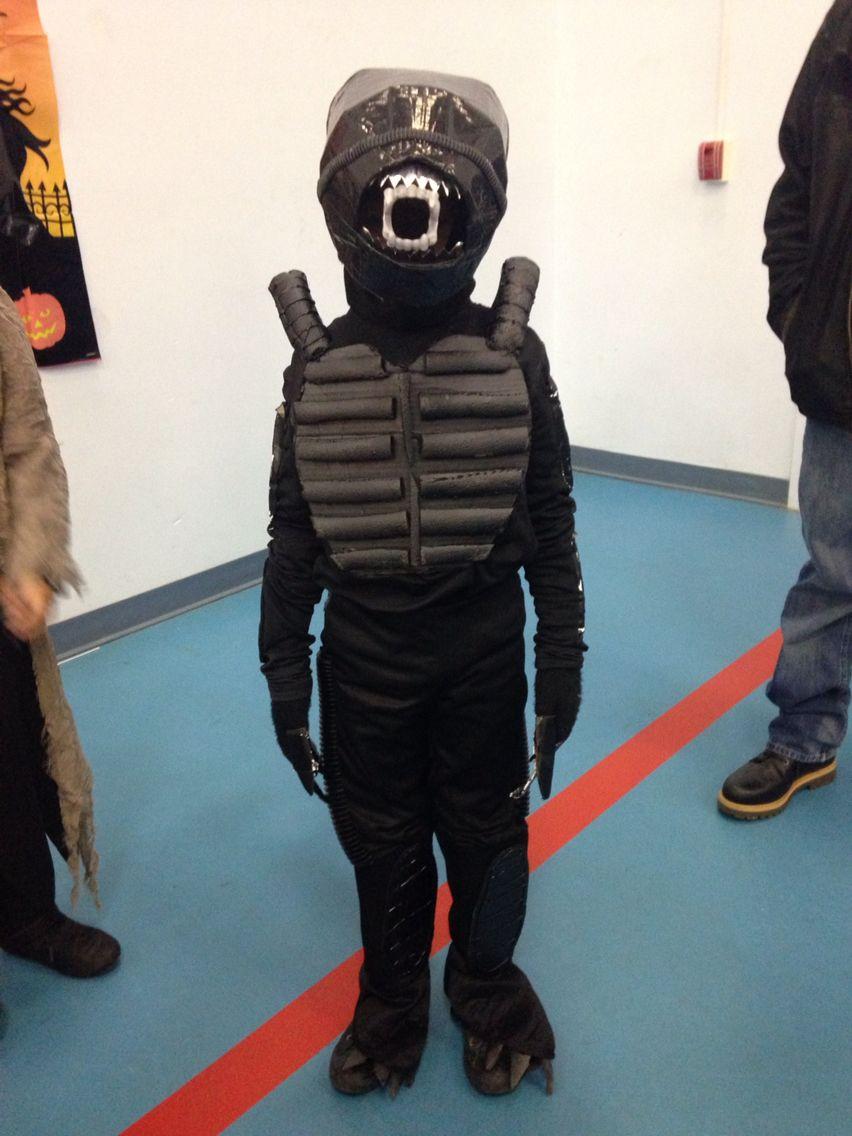 Front of the costume  Homemade children's alien xenomorph