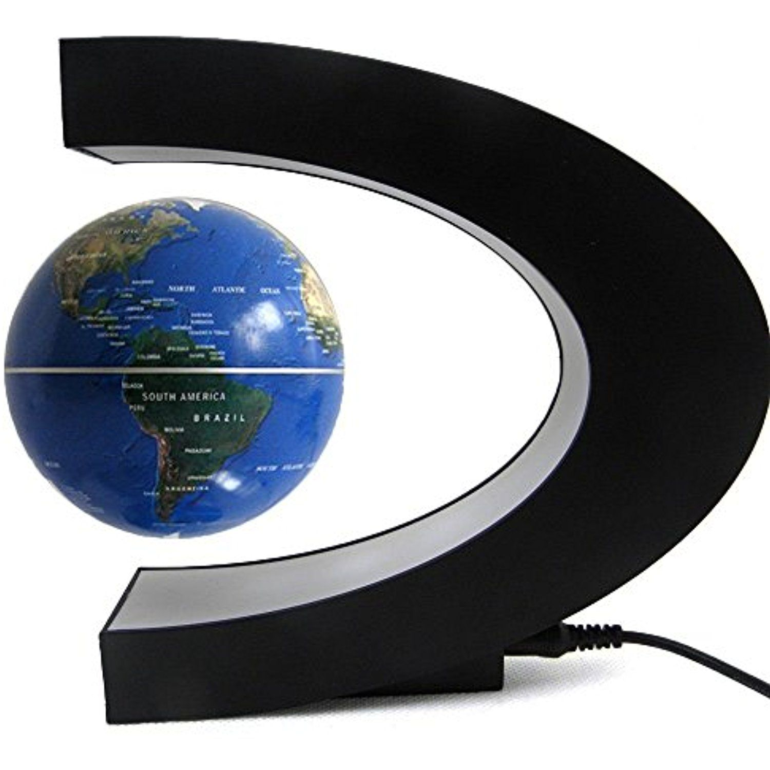 Funny C Shape Magnetic Levitation Floating World Map Globe Rotating Mysteriously Suspended In Air With Led Lights For Lear Floating Globe Levitation Led Lights