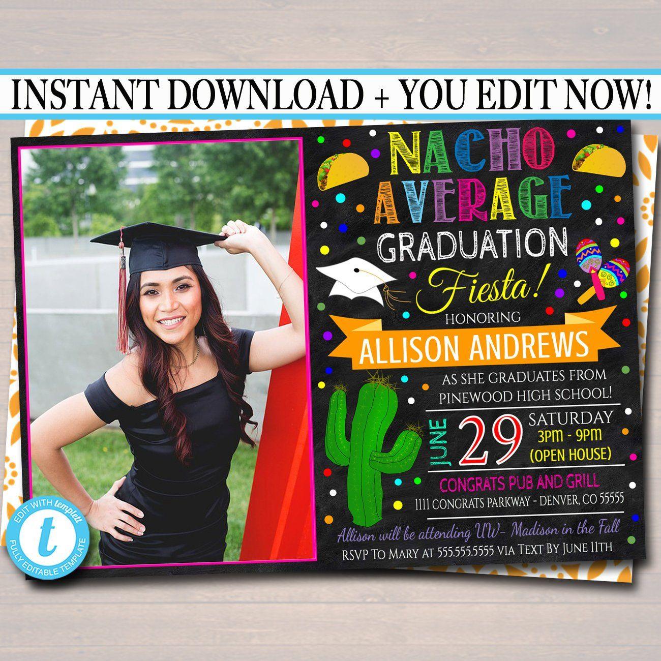 Editable Fiesta Graduation Invitation Chalkboard Printable Etsy Graduation Invitations Graduation Invitations High School Graduation Party Invitations