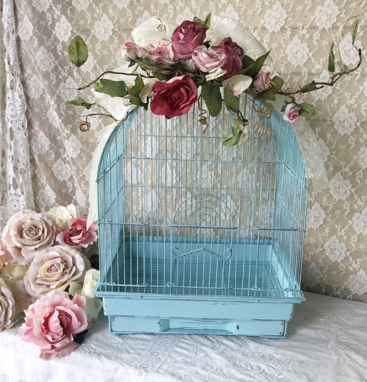 Shabby Vintage Birdcage Wedding card holder birdcage candle