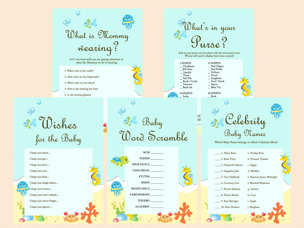 Under the Sea Baby Shower Game Printables, Beach Baby Shower Game ...