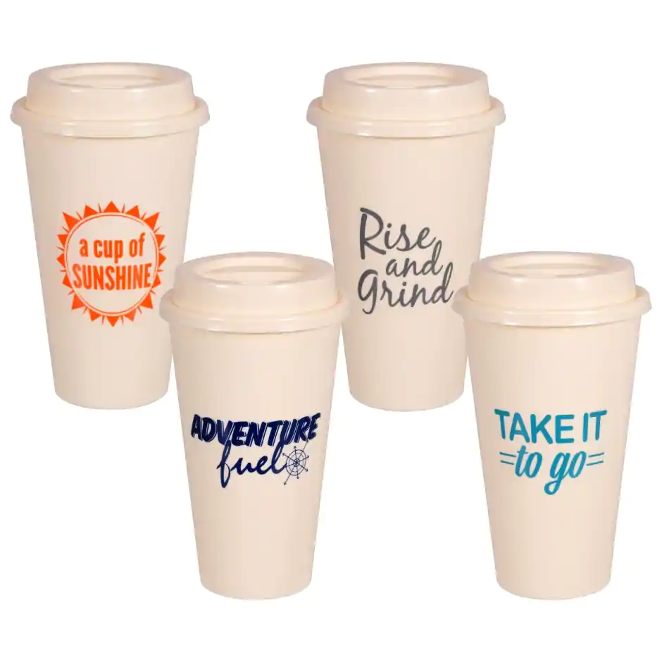 Reusable Plastic Coffee Cups with Lids, 2ct. Packs