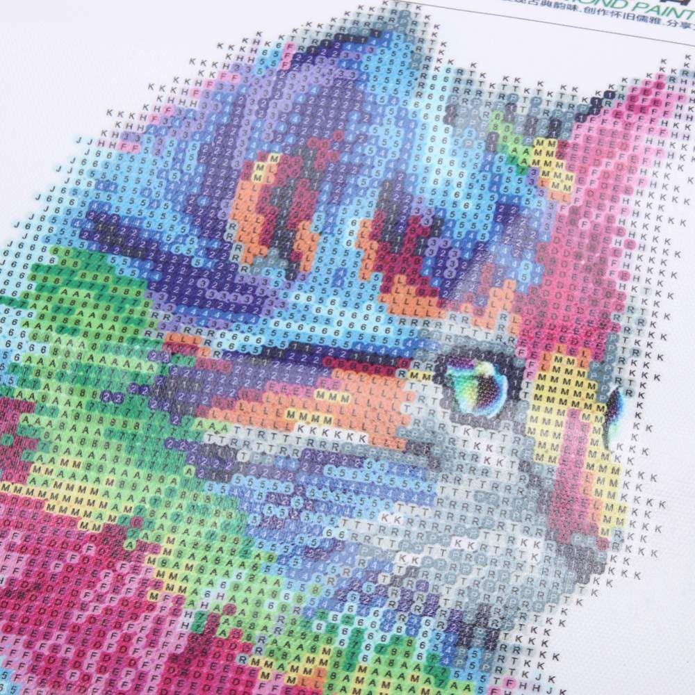5D DIY Colorful Cat Diamond Painting Embroidery Craft Cross Stitch Art Decor