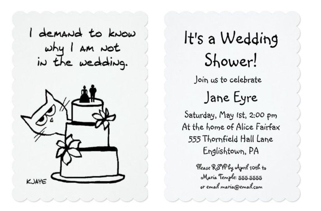 Funny Wedding Shower Invitation For Cat Fully Customizable