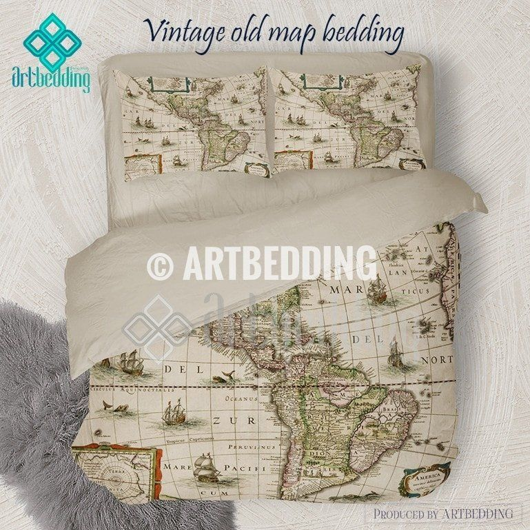North and south america old map bedding set vintage old world map north and south america old map bedding set vintage old world map duvet cover set gumiabroncs Gallery
