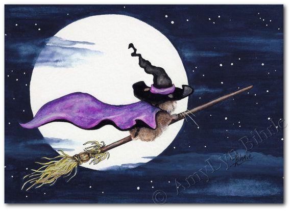 Lil Hamster Wicked Halloween Broom Moonlight Ride by AmyLynBihrle, $8.99