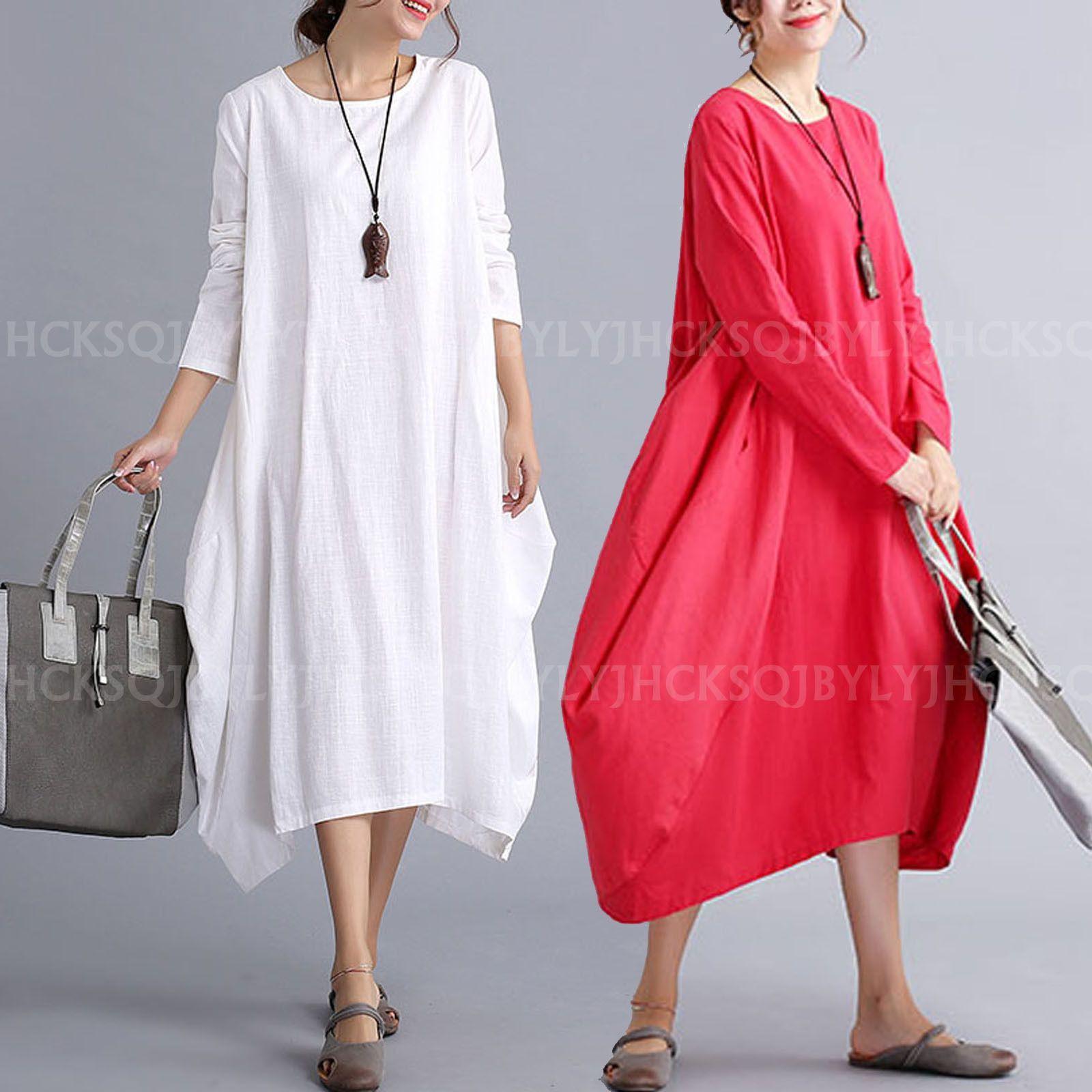 Autumn ladies long sleeve casual loose cotton linen boho maxi shirt