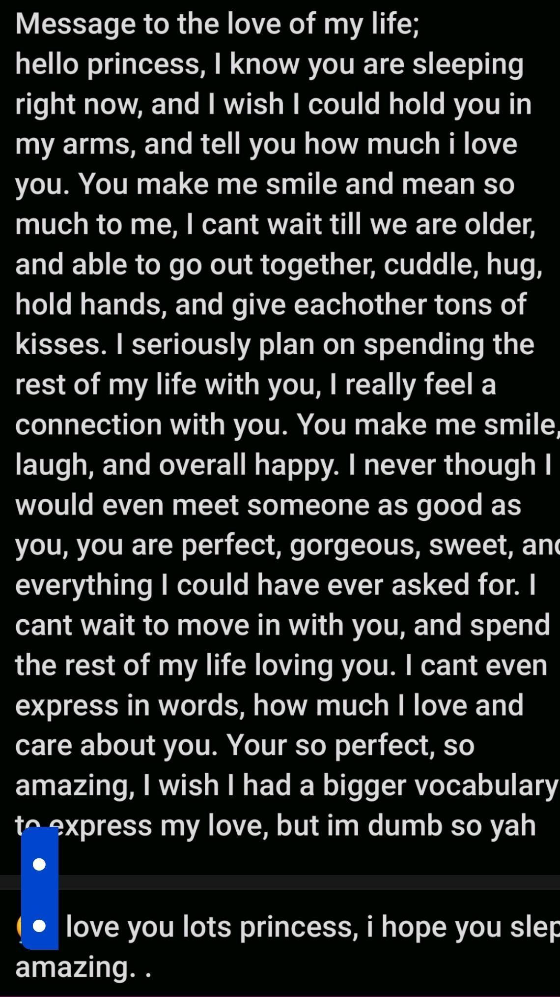 hi! i love you cayli :) hope u like the long paragraph bug^^