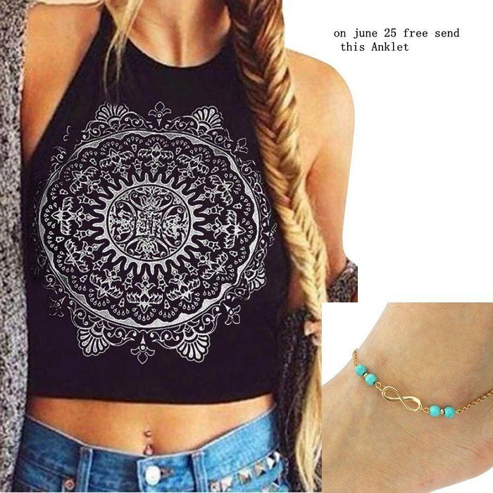 4df7acfafb9c6c Usstore Crop Tops Vest Backless Tank Tops Blouse For Women Mandala Print (M)