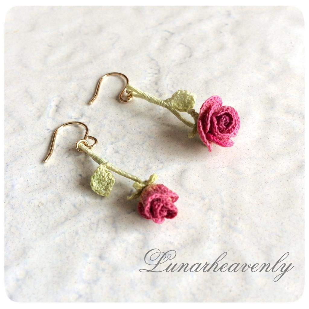 crochet rose earrings … | Knit and…