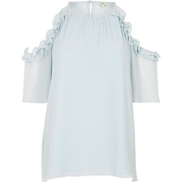 757d502566580 River Island Light blue frill cold shoulder blouse (1