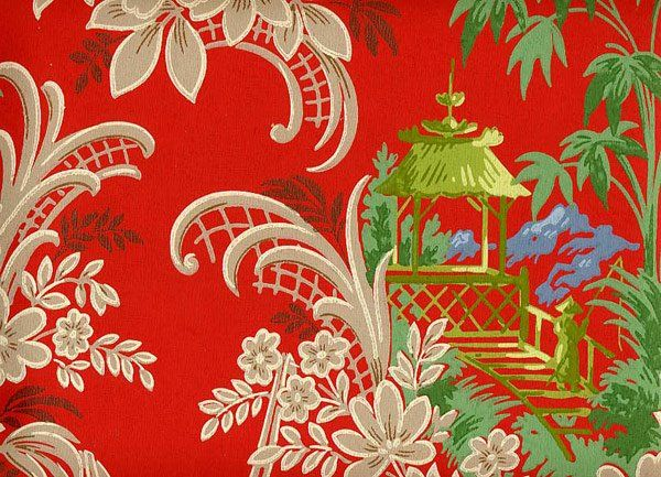 Red chinoiserie wallpaper very very pretty