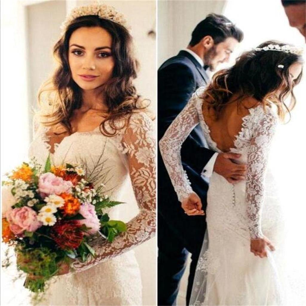 Elegant Lace Long Sleeve Wedding Dresss Latest V Neck Open Back