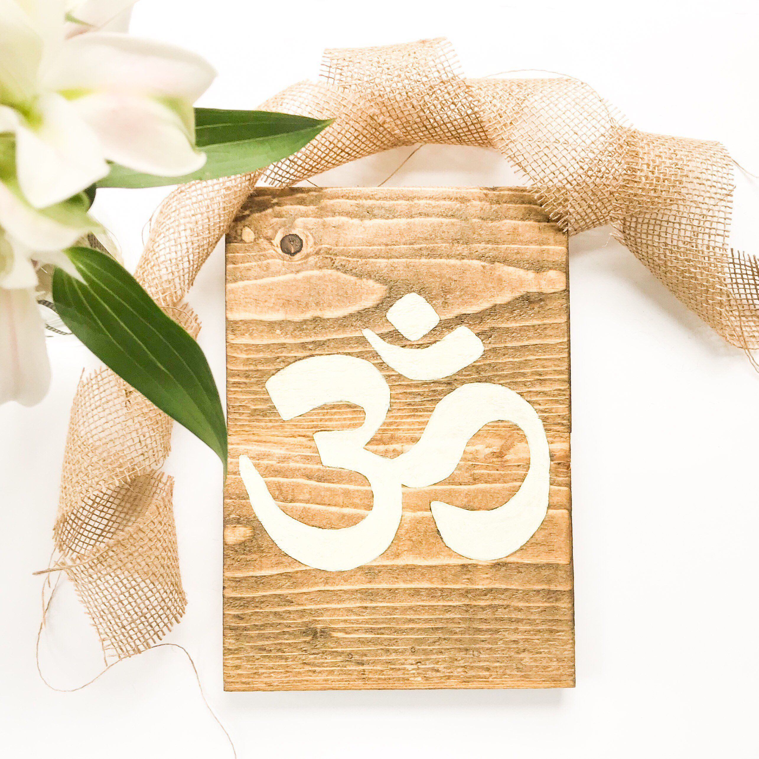 Om symbol wood sign Rustic wooden sign Handmade Buddha sign ...
