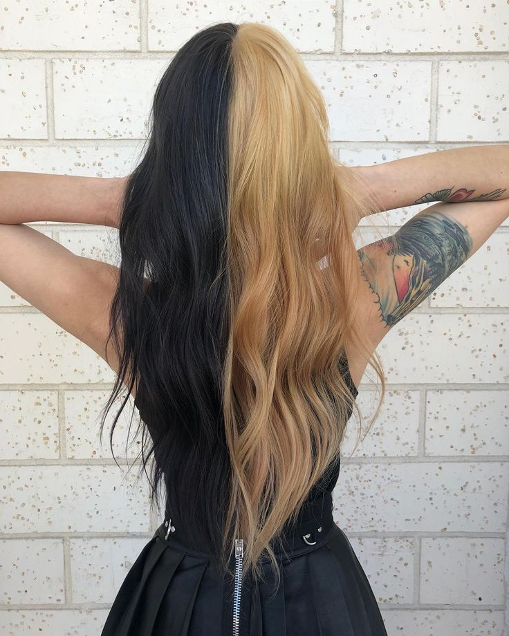 Half Black Half Blond Hair In 2020 Split Dyed Hair Half Dyed