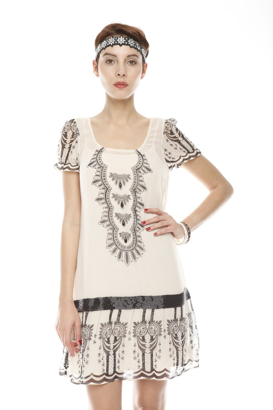 Shoptiques — Beaded Dress...leggings would bring this together even more