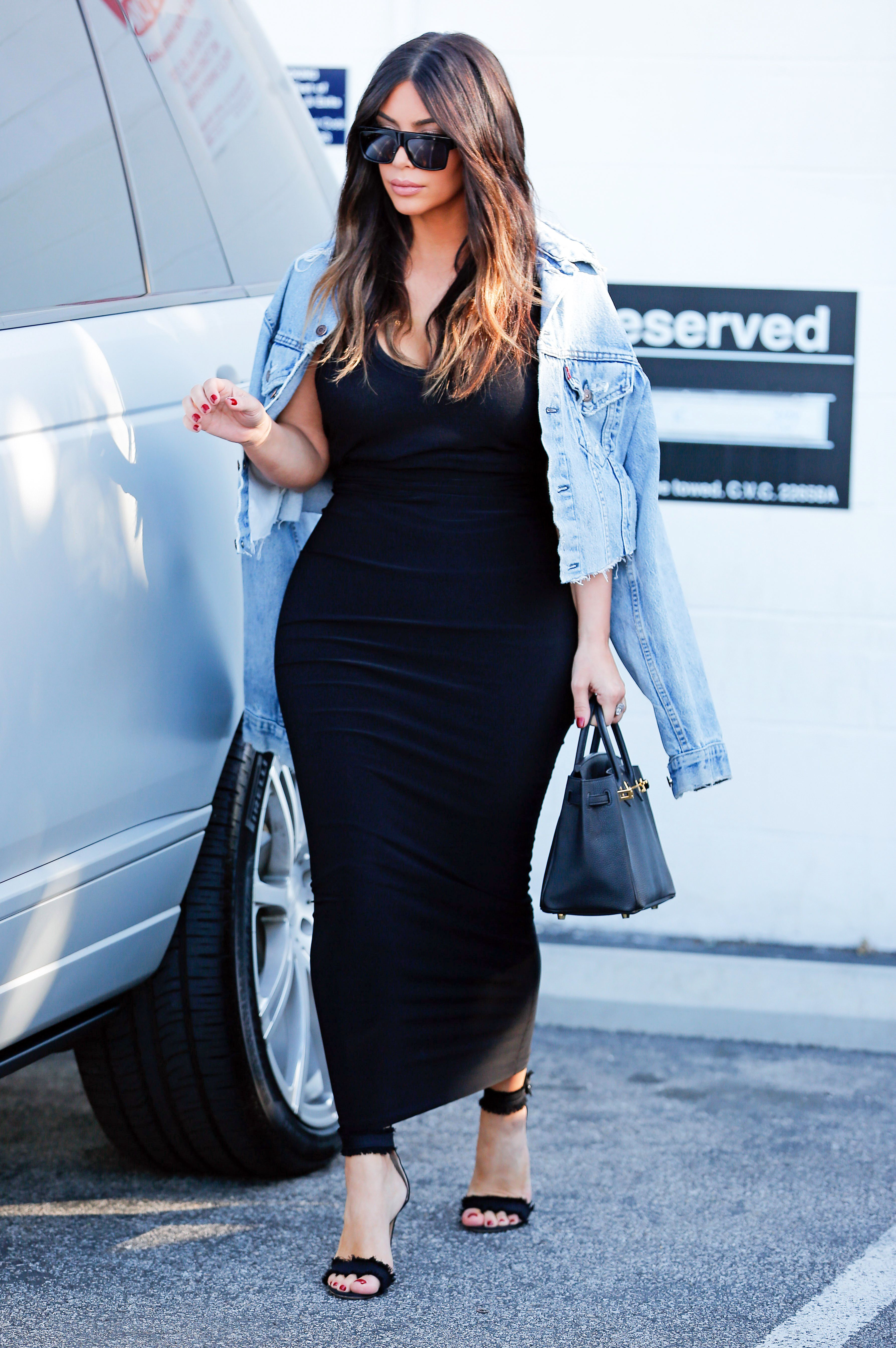 Black dress jean jacket - Best Looks Kim Kardashian