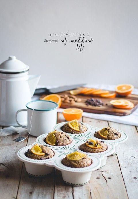... healthy orange, almond & cocoa nib muffins ...