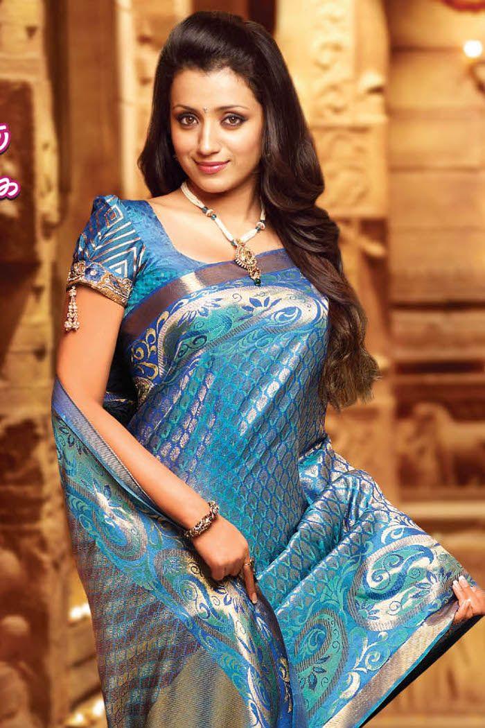Peacock Blue Trisha Pinterest Indian Silk Sarees Silk Sarees
