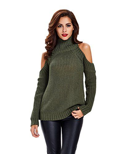 Womens Ladies Rib High Neck Long Sleeve  Cold Shoulder Top