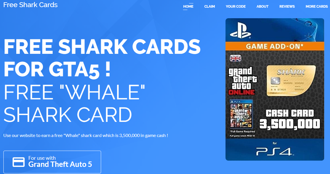 Get Free GTA5 Shark Card 2019 For Ps4 Coding, Card games