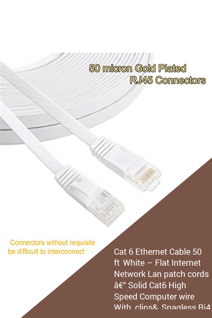 Cat 6 Cable 50 ft White Flat Network