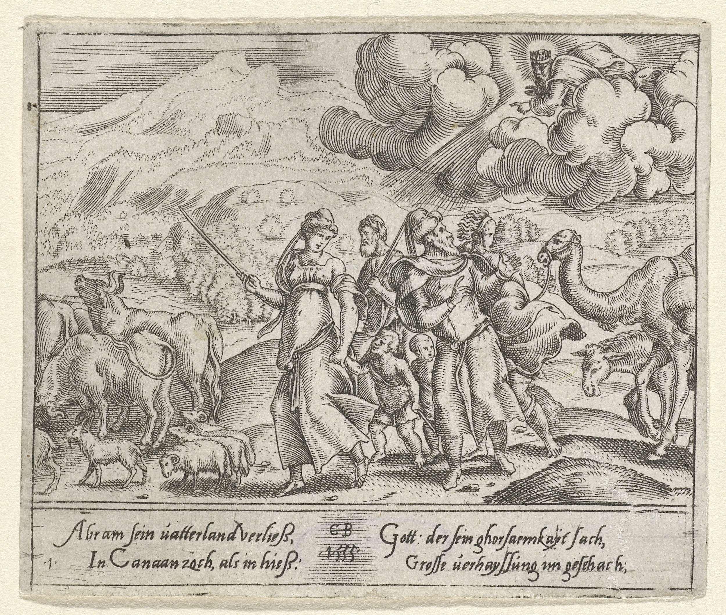 Cornelis Bos | Abraham trekt naar Kanaän, Cornelis Bos, 1555 | God wijst Abraham de weg naar Kanaän. Abraham trekt met zijn familie en zijn dieren naar het hem onbekende land. Prent uit een serie van 12 prenten met het leven van Abraham. Alle prenten hebben vier regels Duitse verklarende tekst in de ondermarge.