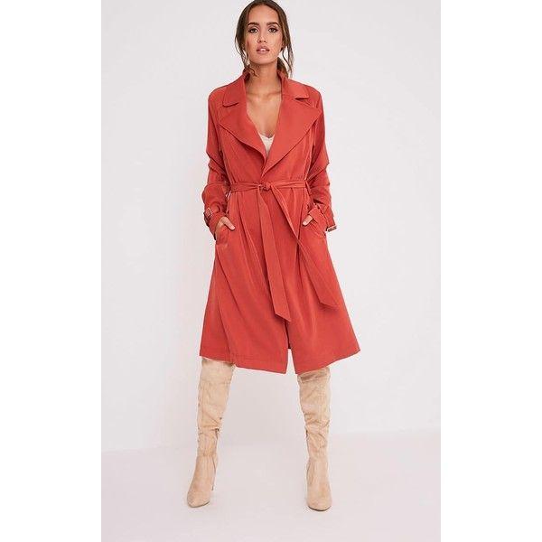 Kiki Deep Peach Mac Jacket ($26) ❤ liked on Polyvore featuring outerwear, jackets, deep peach, distressed jacket, peach jacket, maxi jacket, basic tee shirts and basic tshirt