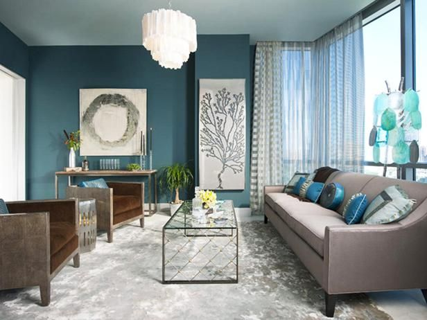 Like Both Of These Paintings Color Palette Is Interesting Too Awesome Brown And Turquoise Living Room Inspiration Design