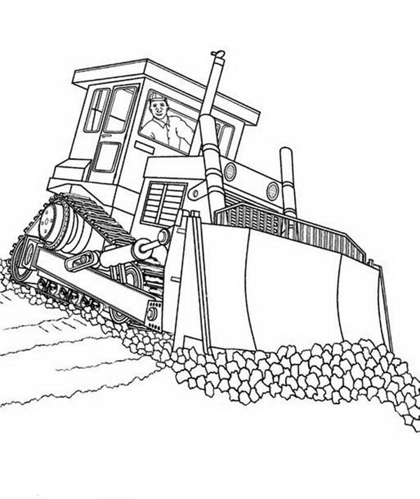 Fixing Road With Bulldozer Coloring Page Coloring Sun Coloring Pages New Year Coloring Pages Dragon Coloring Page