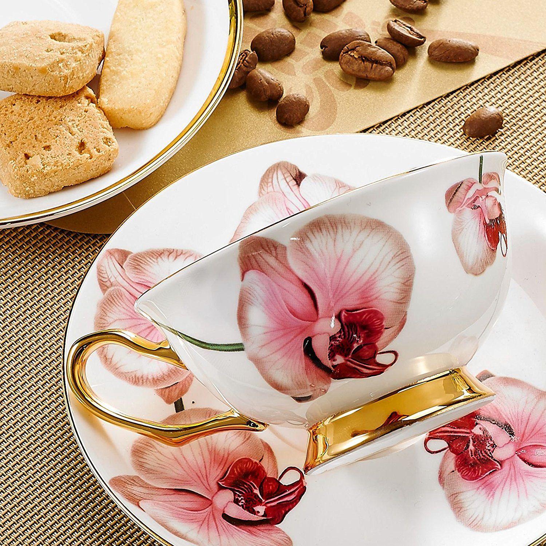 Panbado Tasses à Thé Service à Café 200ml Avec Soucoupe Cuillère