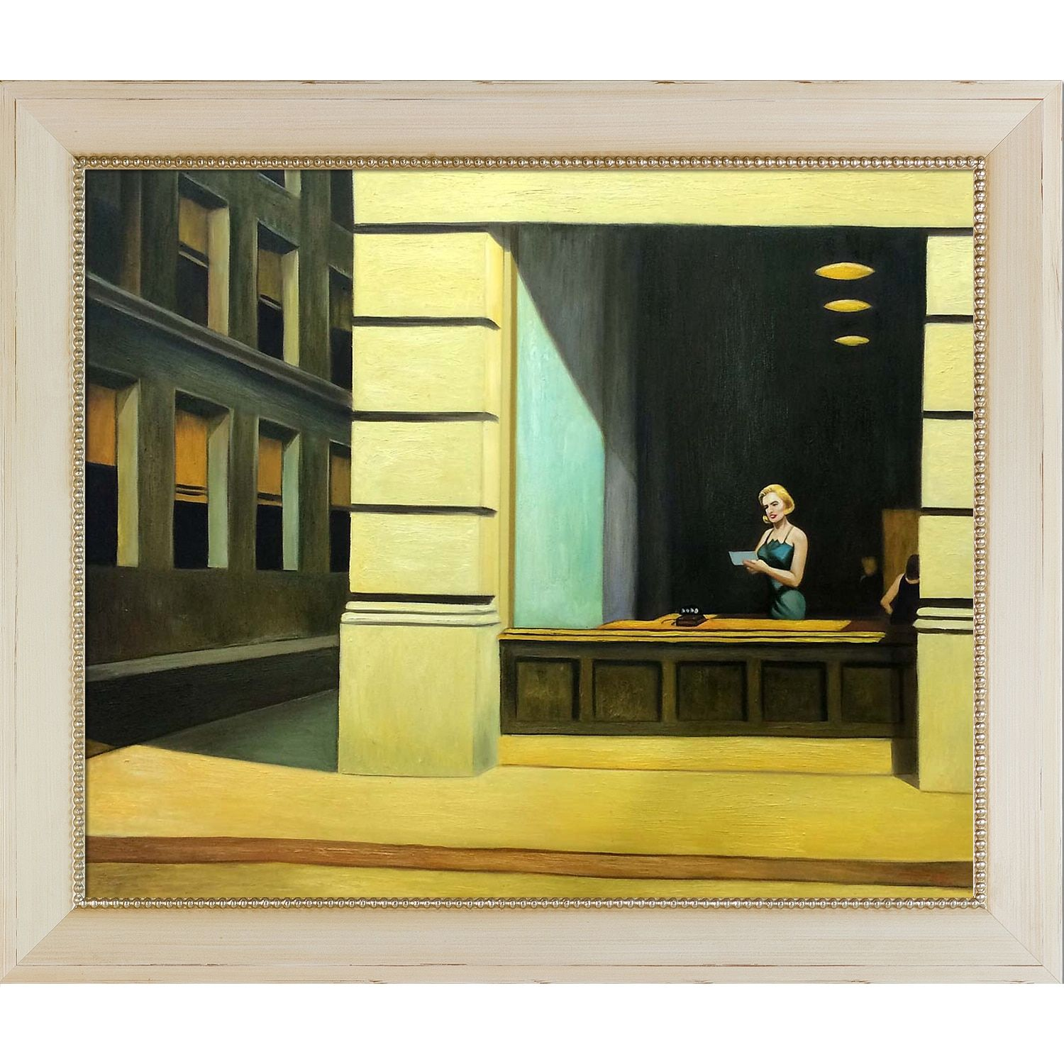 La Pastiche Edward Hopper New York Office 1962 Hand Painted Framed Oil Reproduction