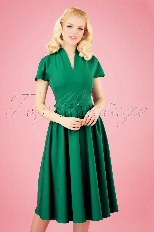 50s Aemela Ivy Swing Dress In Emerald Green Swing Dress Versatile Dresses Dresses [ 1530 x 1020 Pixel ]