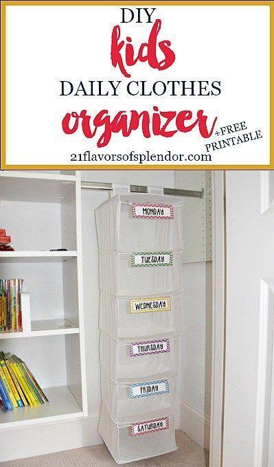 Diy Kids Daily Clothes Organizer Free Printable Beyond Committed Kids Clothes Organization Kids Clothes Diy Clothes Organization