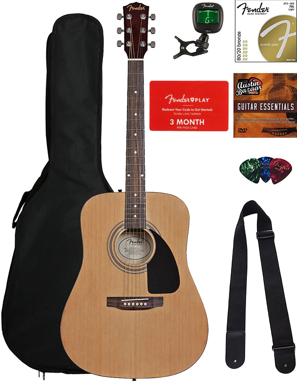 Fender Fa 115 Dreadnought Acoustic Guitar Natural Bundle With Fender Play Online Lessons Gig Bag Tuner Strings Strap Picks And Austin Bazaar Instruction In 2021 Fender Acoustic Guitar Acoustic Guitar Guitar Tuners