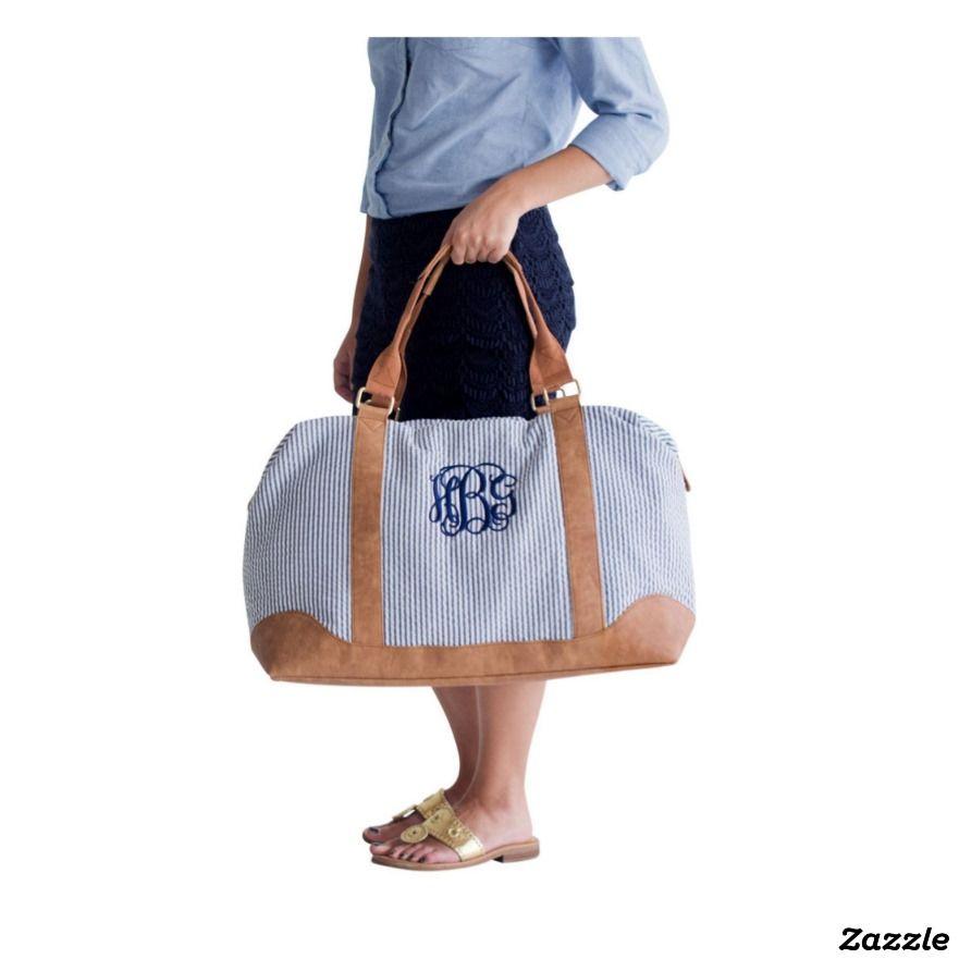 47666d93022 Monogram Seersucker Honeymoon Weekender Bag   JUST for HER ...