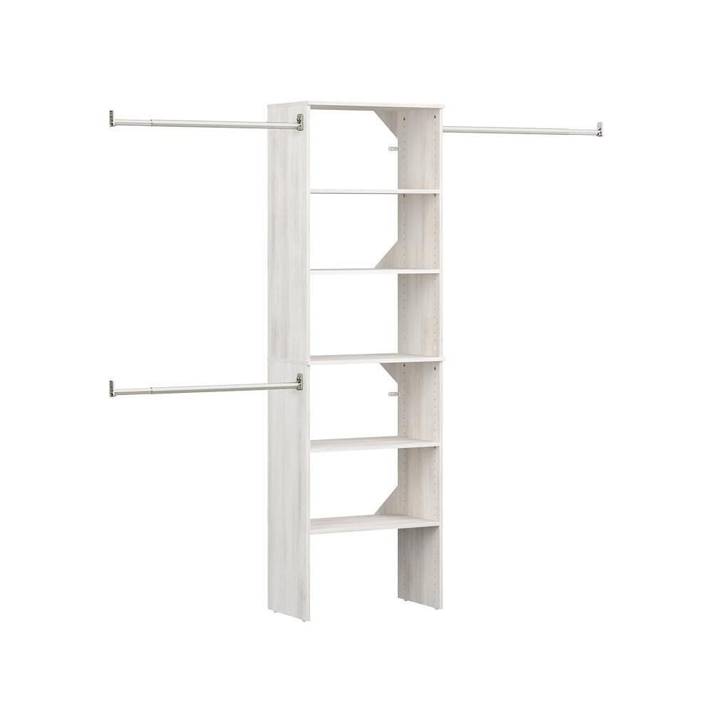 Closetmaid Style 16 97 In D X 25 12 In W X 82 46 In H White Floor Mount 6 Shelf Wood Closet Kit With Hang Rods 4365 Wood Closet Systems Closet Kits Wood Closet Kits
