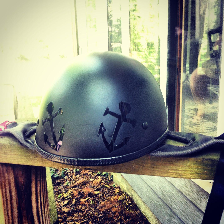 Spray Painted My Old Shiny Motorcycle Helmet With Flat Black Cut - Motorcycle helmet designs custom stickers
