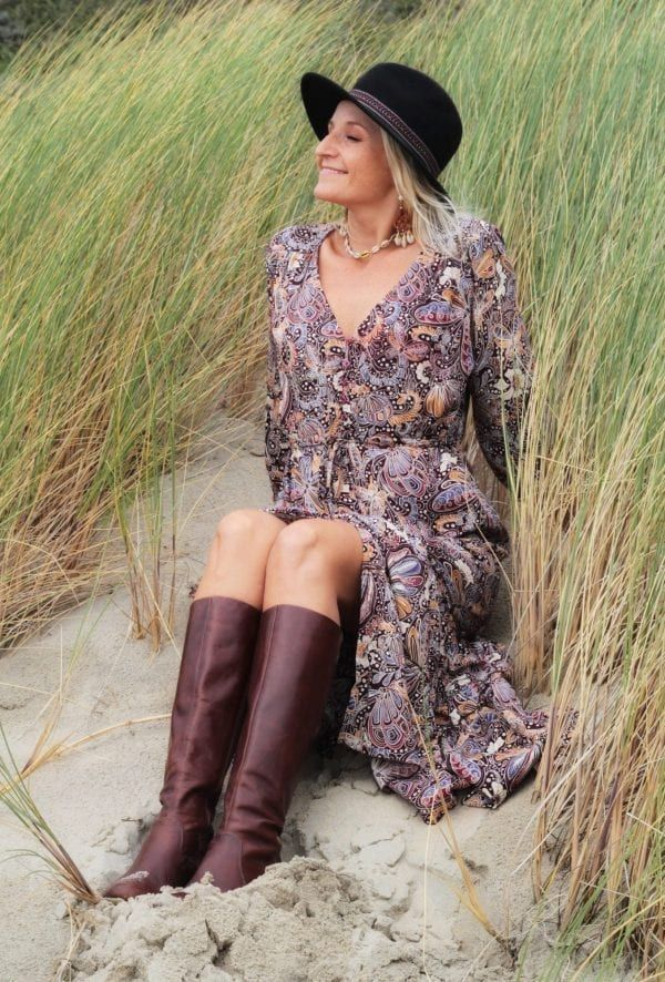 Boho Herbst Winter Outfit - Bohemian Midi-Kleid - Boho ...