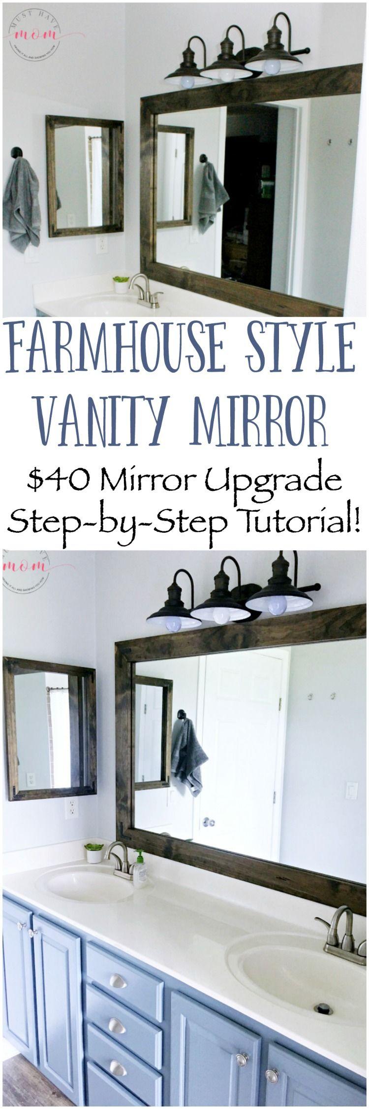DIY vanity mirrors! Farmhouse style bathroom vanity mirror